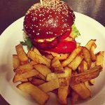 Halloumi, hummus and roasted pepper burger